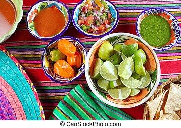 limone, vario, messicano cibo, nachos, peperoncino, salse