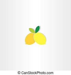 limone, vettore, disegno, icona