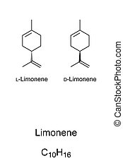 Limonene, chemical structure and formula. Major component of...