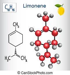 limonene, modèle, chimique, -, molécule, structural, formule