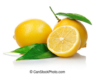 limones frescos, con, corte, y, hojas verdes