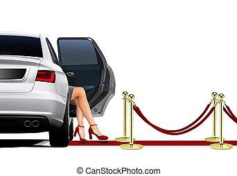 limousine, arrivée, sur, rouges, cerpet