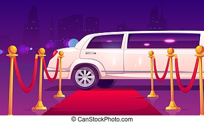 Limousine at empty red carpet with rope barrier.