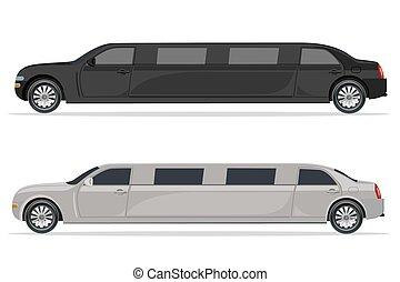 limousine, bianco, nero, disegno