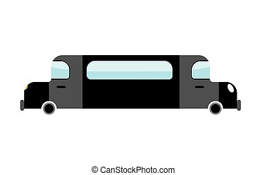 Limousine Black isolated. Transport on white background. Luxury car in cartoon style