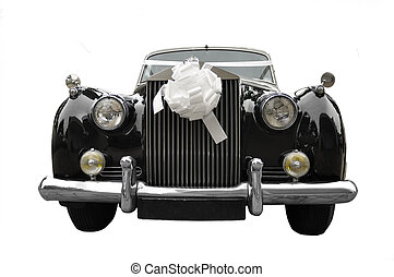 limousine, bröllop, gammal, bil