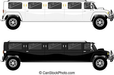 limousine, camion, vip, due