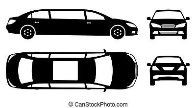 limousine, devant, illustration, côté, pictogramme, vue, dos, vecteur, sommet