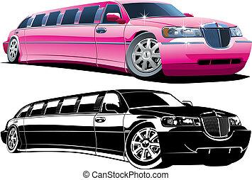 limousine, karikatur