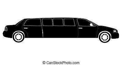 limousine, silhouette, isolato