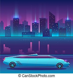 Limousine vector in front of night city urban landscape, luxury metropolis.