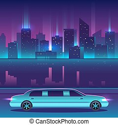 Limousine vector in front of night city urban landscape,...