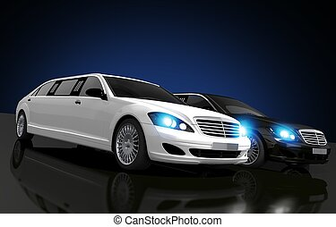 Limousines For Hire Conceptual 3D Rendered Illustration. Two...