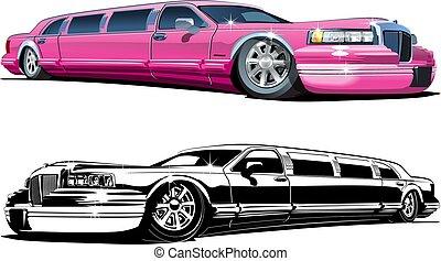 limousines, versions, couleur, vecteur, noir, blanc, dessin animé