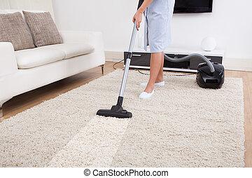 limpador carpete, vácuo, limpeza, empregada