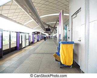limpador, conceito, serviço, (train, balde, trabalhador,...