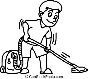 limpador, doodle, -, isolado, ilustração, mão, vetorial, fundo, vácuo, usando, branca, desenhado, homem