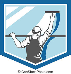 limpador, escudo, trabalhador, janela, retro, arruela