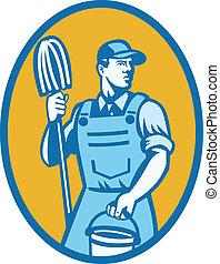 limpador, esfregão, trabalhador, balde