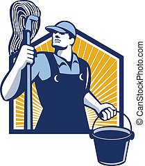 limpador, esfregue balde, retro, segurando, zelador