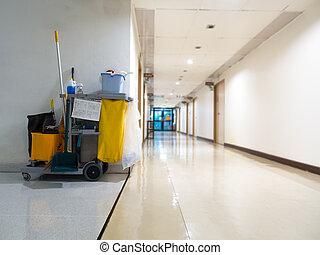 limpador, hospital., jogo, serviço, trabalhador, balde,...