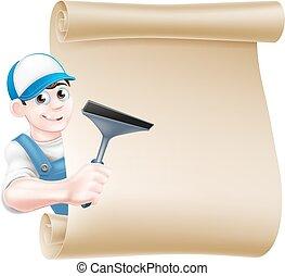 limpador, janela, caricatura