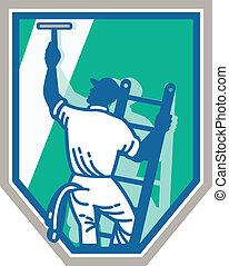 limpador, janela, trabalhador, escudo, retro