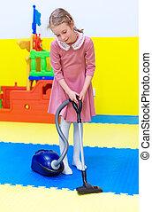 limpador, menininha, playroom., vácuo