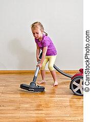 limpador, pequeno, chão, cute, limpeza, vácuo, menina