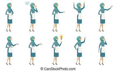 limpador, set., muçulmano, jovem, vetorial, ilustrações