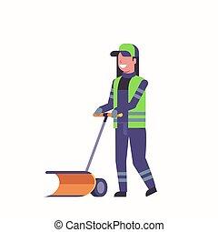 limpador, snowplough, mulher, punho, inverno, serviço, apartamento, neve, uniforme, comprimento, conceito, cheio, limpeza, usando, remoção