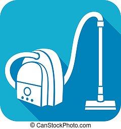 limpador, vácuo, apartamento, ícone