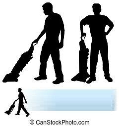 limpador, vácuo, homem, usando