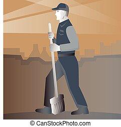 limpador, varredor, trabalhando, vassoura, rua, retro