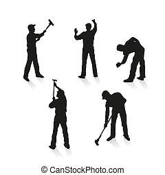 limpadores, diferente, jogo, cinco