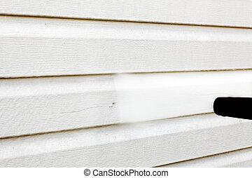 limpando casa, (vinyl, siding), pressão alta, limpador