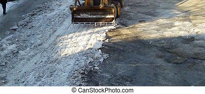 limpeza, a, gelado, estrada