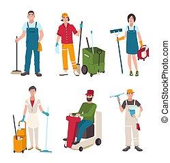 limpeza, apartamento, diferente, mulher, lavando, broom., pessoas, set., varredor, ilustração, equipamento, janela, vetorial, floor., limpador, homem, máquina, zelador, style., arruela
