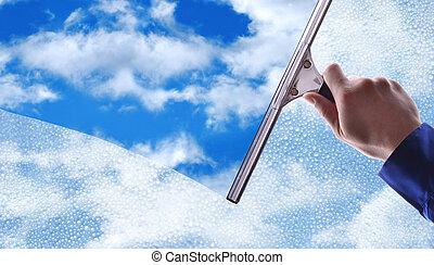 limpeza, azul, chuva, céu, empregado, gotas, vidro