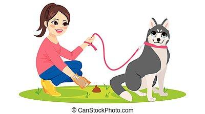 limpeza, cão, animal estimação, poo, mulher