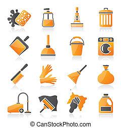 limpeza, e, higiene, ícones