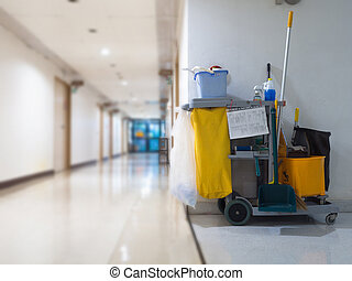 limpeza, ferramentas, carreta, espera, para, empregada, ou,...