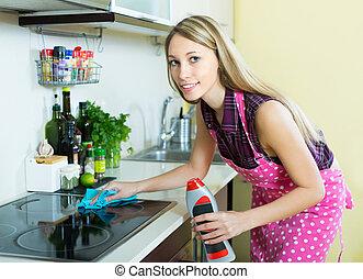 limpeza, painel, dona de casa, elétrico