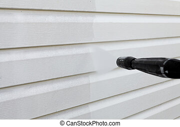 limpeza, parede, (vinyl, siding), pressão alta, limpador