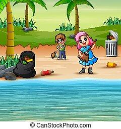 limpeza, praia, crianças, voluntário