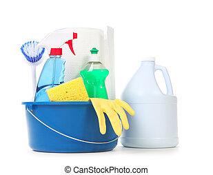 limpeza, produtos, para, diariamente, uso, lar