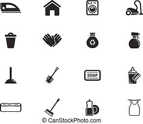 limpeza, serviço, simplesmente, ícones