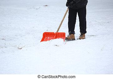 Limpia, pala, aceras, nieve, hombre