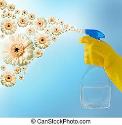 limpiador, arriba, mano, rociar, cierre, flores