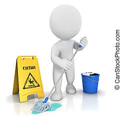limpiador, blanco, 3d, gente